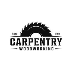 Carpentry, woodworking retro vintage logo design. Sawmill / saw logo