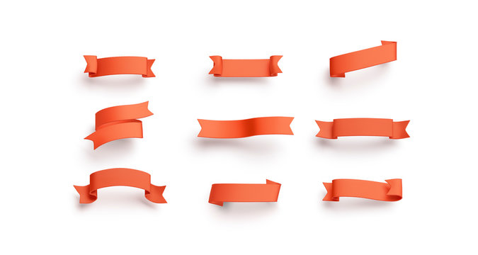 Blank red banderole mock up set, isolated