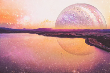 Lonely boat sailing across a lake on alien planet - digital artwork. Elements of this image furnished by NASA Fototapete