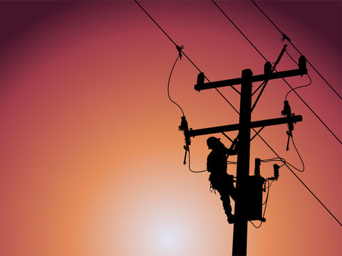 Silhouette of power lineman uses a clamp stick grip all type to install the line cover on energized high-voltage electric power lines. To change the lightning arresters that is damaged.
