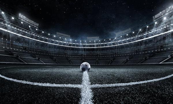 Sport Backgrounds.  Soccer stadium. 3D render stadium.