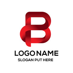 Modern 3D B or BP Letter logo design template