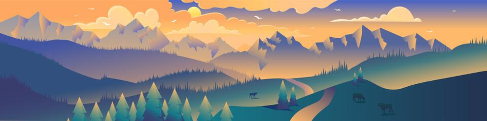 Mountains panoramic view minimalist illustration