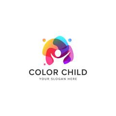 Color child logo vector icon