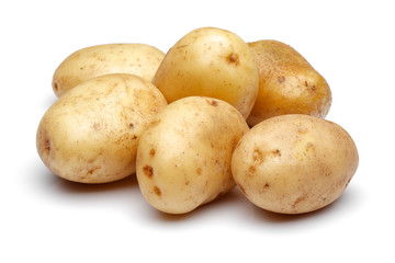 Heap of fresh potatoes isolated on white background