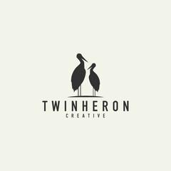 stork couple logo - vector illustration on a light background