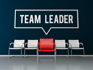 Team leader text on dark blue wall in office or waiting room