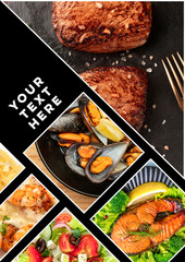 Food Collage. A design template with various tasty dishes with a place for text or logos