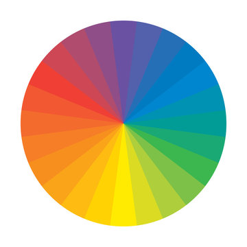 Spectral Rainbow Circle of 24 Multicolor Polychrome Segments. The spectral harmonic colorful palette of the painter.