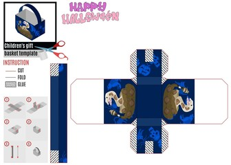 blue cutout basket halloween green rattlesnake