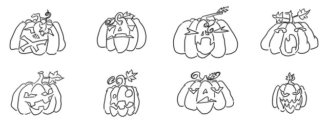 halloween sketch pumpkin doodle drawing on a white