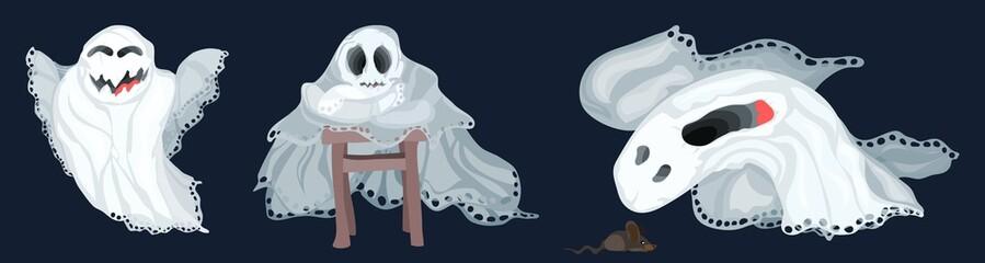 several cartoon ghosts bright good perfume a dark