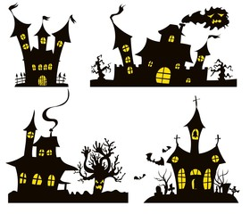 shadow house selection with windows halloween