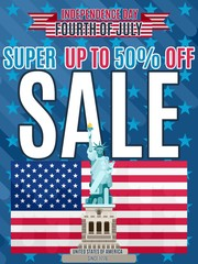 Independence Day Super Sale with a statue