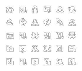 Fototapeta Set Vector Line Icons of C2C