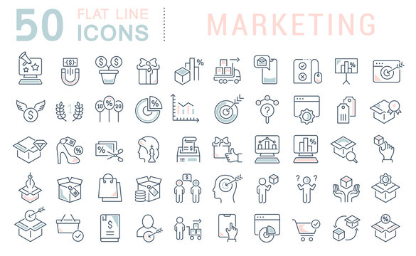 Set Vector Line Icons of Marketing