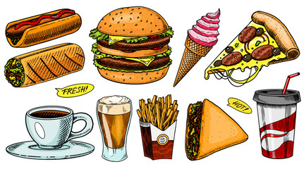 Junk Fast food, burger and hamburger, tacos and hot dog, burrito and beer, drink and ice cream. Vintage Sketch for restaurant menu. Hand drawn stickers in retro style.