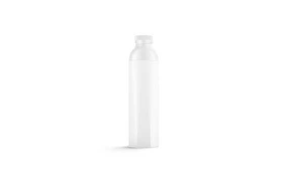 Blank white water bottle mockup, isolated, front view