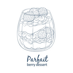 Parfait dessert with berries icon. Hand drawn vector illustration black and white colors