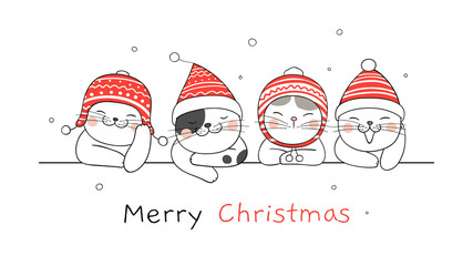 Draw banner cat for Christmas day and New year.