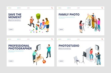 Photo shoot landing pages. Isometric professional photographer, family, pets. Vector photo studio web pages. Illustration photography shoot, photographer web site homepage
