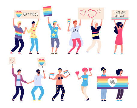 Pride parade. Lgbt people with rainbow flags, gays and lesbians walking on demonstration. Lgbt rights festival vector concept. Illustration pride lgbt lesbian parade