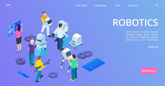 Isometric robotics landing page. People building robots and develop software vector banner. 3d robot programming and engineering illustration