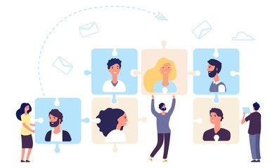 HR concept. Teamwork, business team making. Recruiting vector illustration with tiny flat people characters and puzzle with employees. Hr and recruitment, management select personnel