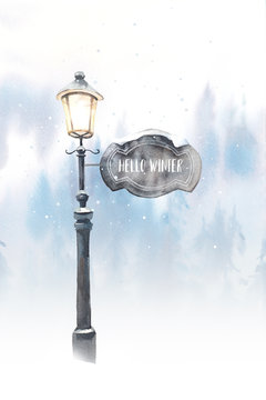 Hello winter. Christmas snow covered lantern illustration. Holiday card design.