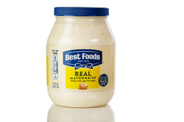 Best Foods real mayonnaise logo on plastic bottle isolated on white background with reflection