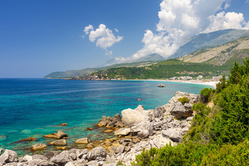 beautiful view on albanian coast in Himare, Albania