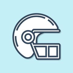 Blue line American football helmet icon isolated on blue background. Vector Illustration