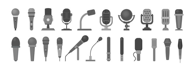 Microphone icon. Audio technology, musical record symbol
