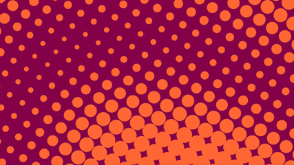 Orange and crimson retro comic pop art background with haftone dots design. Vector clear template for banner or comic book design, etc