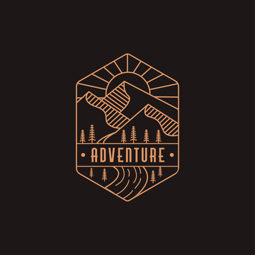 Emblem mountain and river landscape adventure logo icon with line art style on dark background