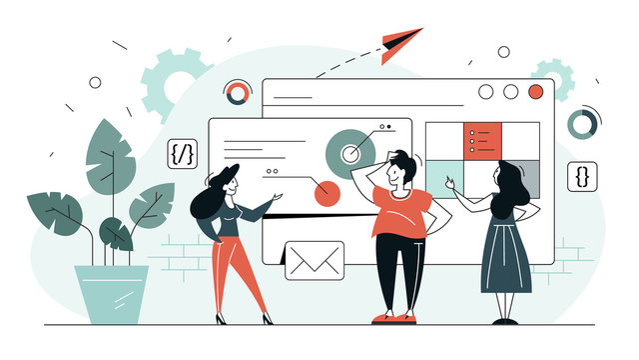 Frontend development web banner concept
