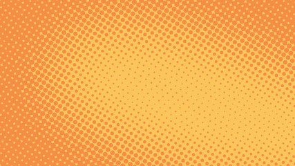 Orange pop art background in retro comic style with halftone dots, vector illustration of backdrop with isolated dots