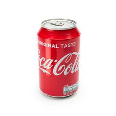 AACHEN, GERMANY OCTOBER, 2017: A can of Coca Cola drink isolated over a plain white background. The drink is produced and manufactured by The Coca-Cola Company.