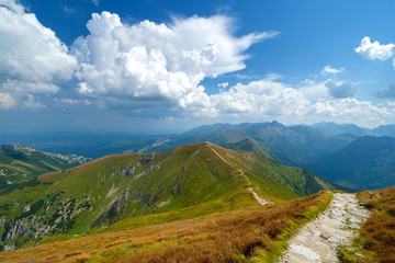 mountain peaks of Tatra mountains in sunny day, Poland