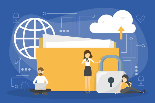 Data privacy concept. Idea of safety and protection while using