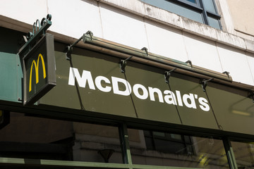 LONDON, UNITED KINGDOM MAY, 2017: McDonalds store logo sign. It is the world's largest chain of hamburger fast food restaurants.