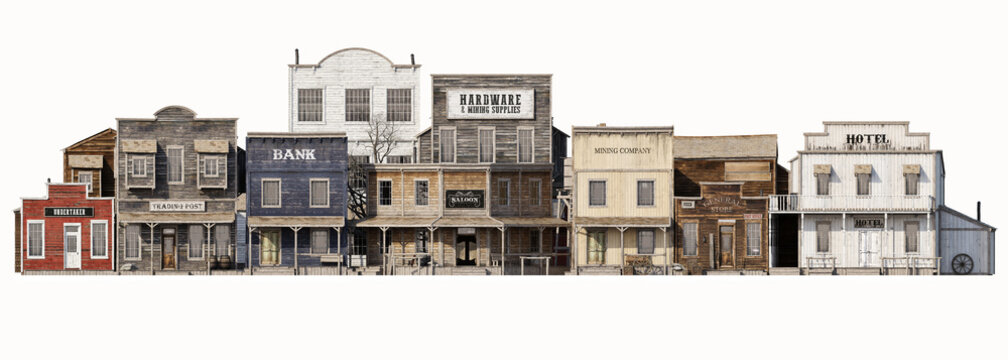 Front wide view of an old rustic antique western town with various business on an Isolated white background. 3d rendering