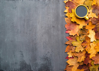 Wall Mural - Seasonal autumn background. Frame of colorful maple leaves and a cup of coffee over grey texture.