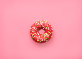 Pink donut on pink background.copy space -Image