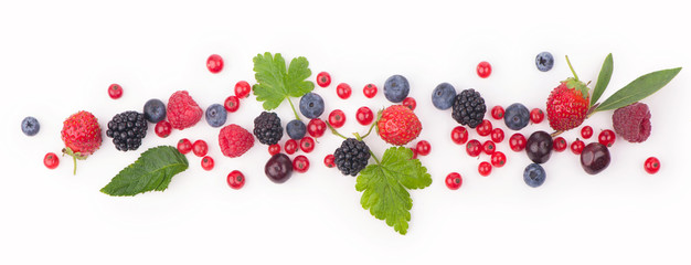 berry mix isolated on a white background Fototapete