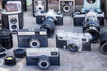 HABANA, CUBA Collection of vintage cameras on a flea market  in Old Havana