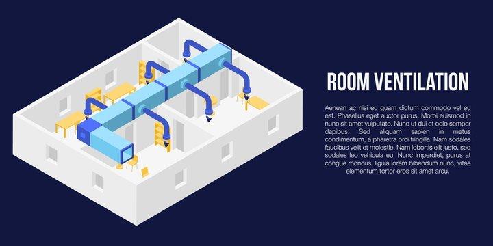 Room ventilation concept banner. Isometric illustration of room ventilation vector concept banner for web design