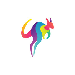 Colorful and dynamic Kangaroo logo design template, very modern style