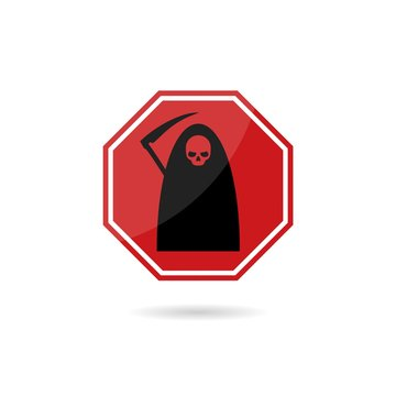 Road sign Death icon isolated on white background