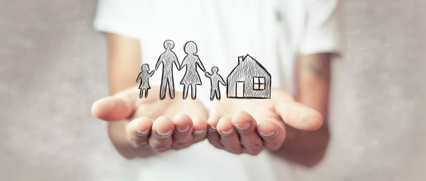 Family care and protection insurance concept